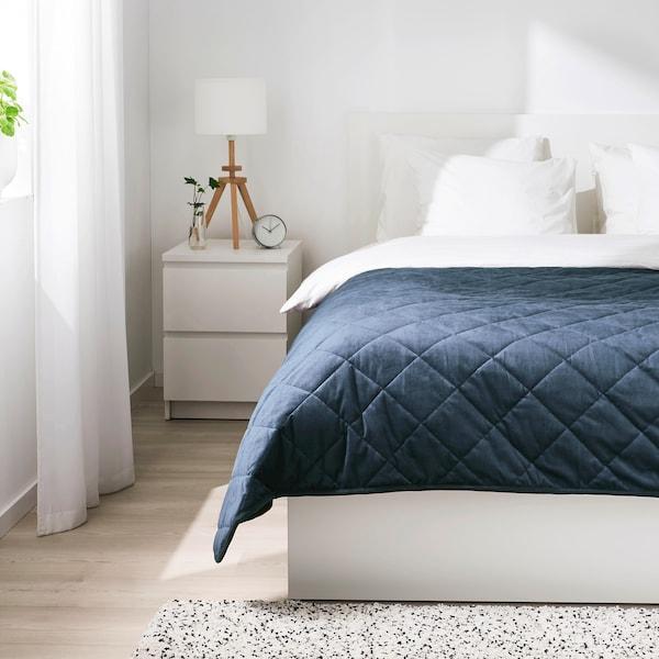 MJUKPLISTER Bedspread, dark blue, 260x250 cm