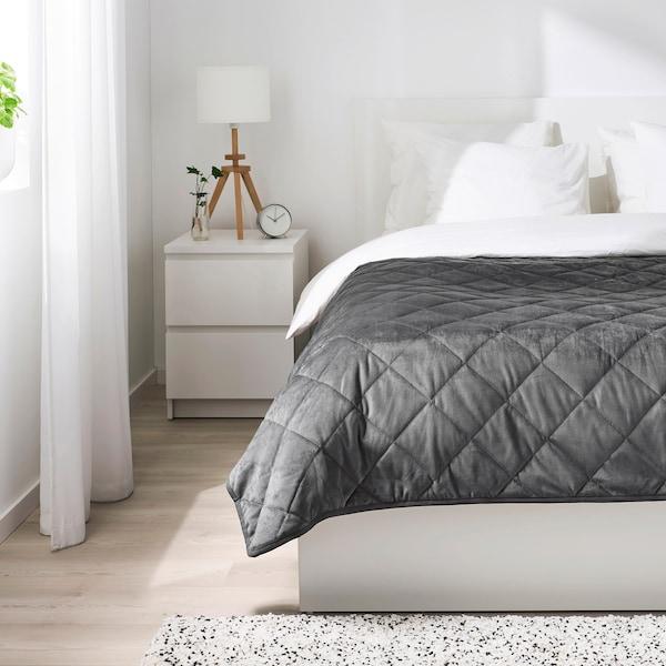 MJUKPLISTER Bedspread, dark grey, 260x250 cm