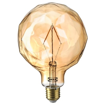 MOLNART LED bulb E27 120 lumen, globe-shaped with faceted glass brown clear glass, 125 mm