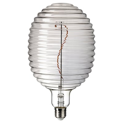 MOLNART LED bulb E27 160 lumen, balloon-shaped with lined glass grey clear glass, 145 mm