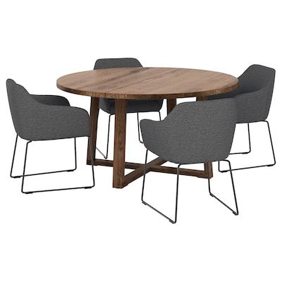 MÖRBYLÅNGA / TOSSBERG Table and 4 chairs, oak veneer brown stained/metal grey, 145 cm