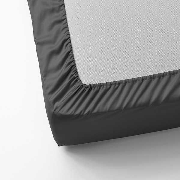 NATTJASMIN Fitted sheet, dark grey, 140x200 cm