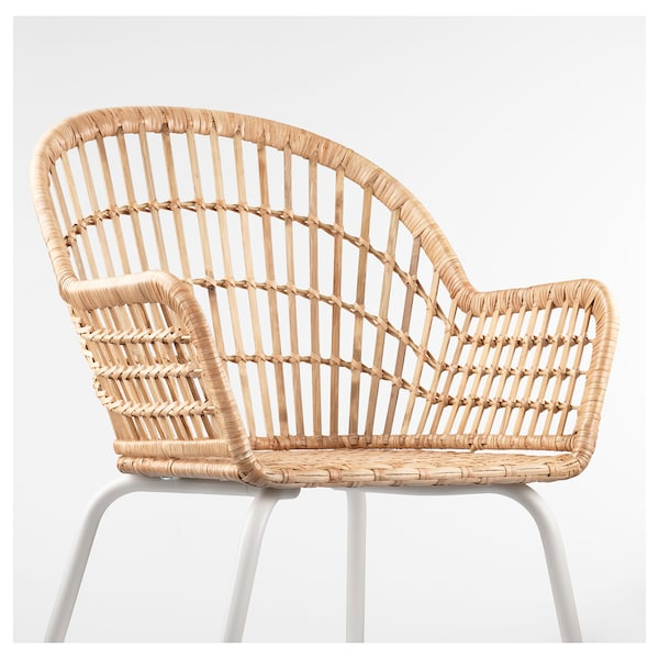 NILSOVE Chair with armrests rattanwhite IKEA