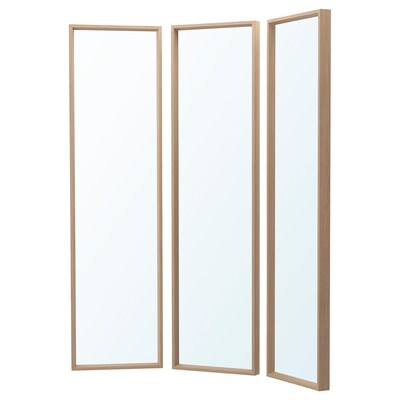 NISSEDAL Mirror combination, white stained oak effect, 130x150 cm