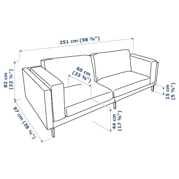 NOCKEBY three-seat sofa Tallmyra rust/chrome-plated 251 cm 97 cm 82 cm 15 cm 60 cm 44 cm