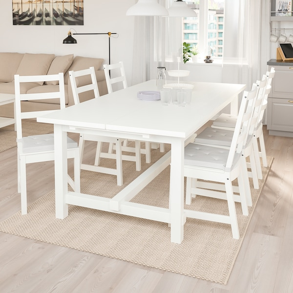 NORDVIKEN Extendable table, white, 210/289x105 cm