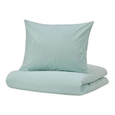 OFELIA Quilt cover and pillowcase, light turquoise, 150x200/50x60 cm