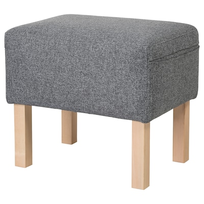 OMTÄNKSAM Footstool, Gunnared medium grey