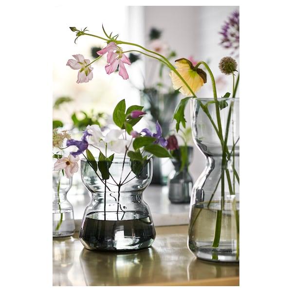 OMTÄNKSAM Vase, light grey, 18 cm