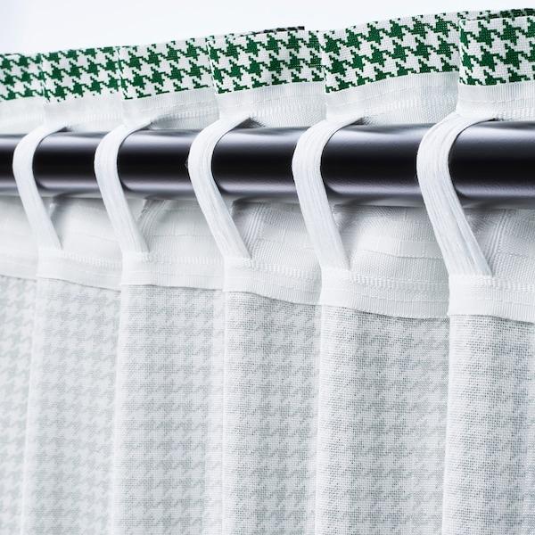 ORDENSFLY Curtains, 1 pair, white/green, 145x300 cm
