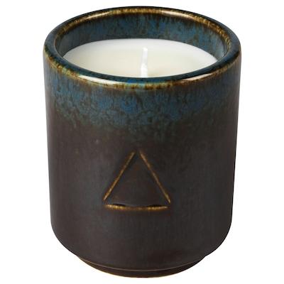 OSYNLIG Scented candle in pot, Tobacco & Honey/black blue, 7 cm