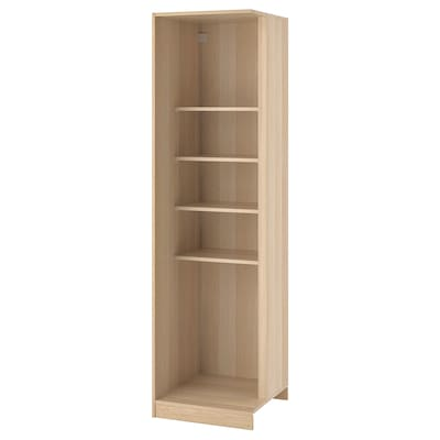 PAX Add-on corner unit with 4 shelves, white stained oak effect, 53x58x201 cm