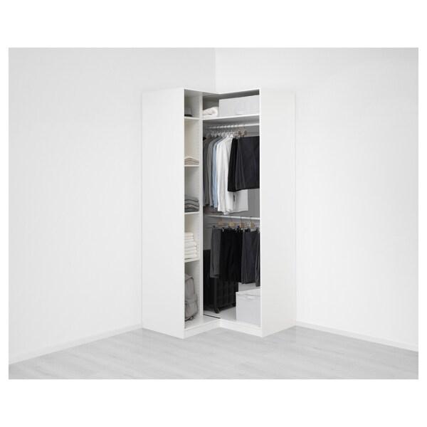 PAX Corner wardrobe, white/Grimo white, 111/111x236 cm