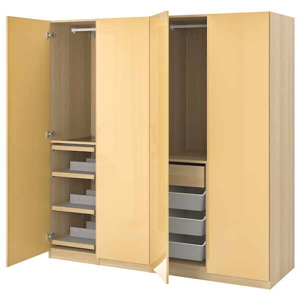 PAX / FARDAL Wardrobe combination, white stained oak effect/high-gloss yellow, 200x60x201 cm