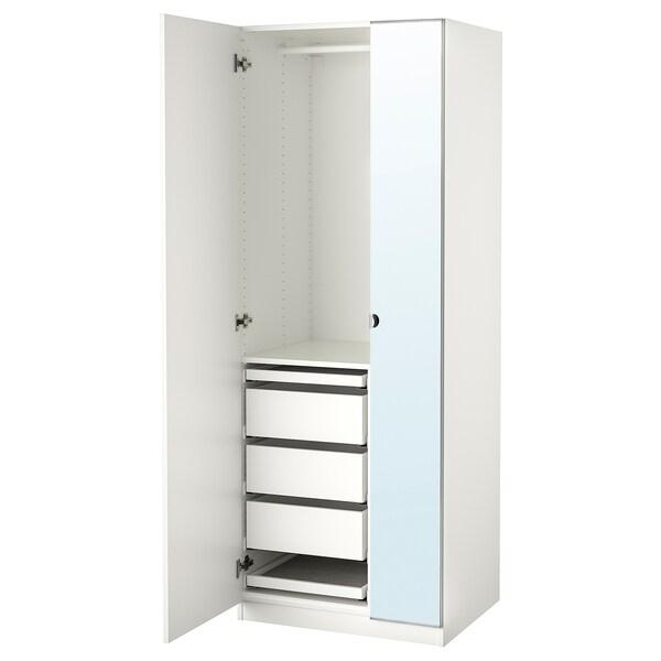 PAX / FORSAND/VIKEDAL Wardrobe combination, white/mirror glass, 75x60x201 cm