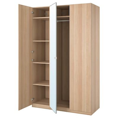 PAX / FORSAND/VIKEDAL Wardrobe combination, white stained oak effect/mirror glass, 150x60x236 cm