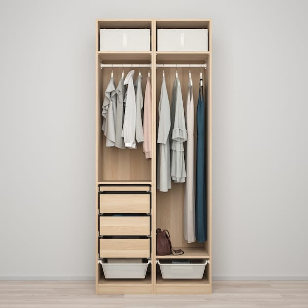 PAX / FORSAND Wardrobe combination, white stained oak effect, 100x60x236 cm