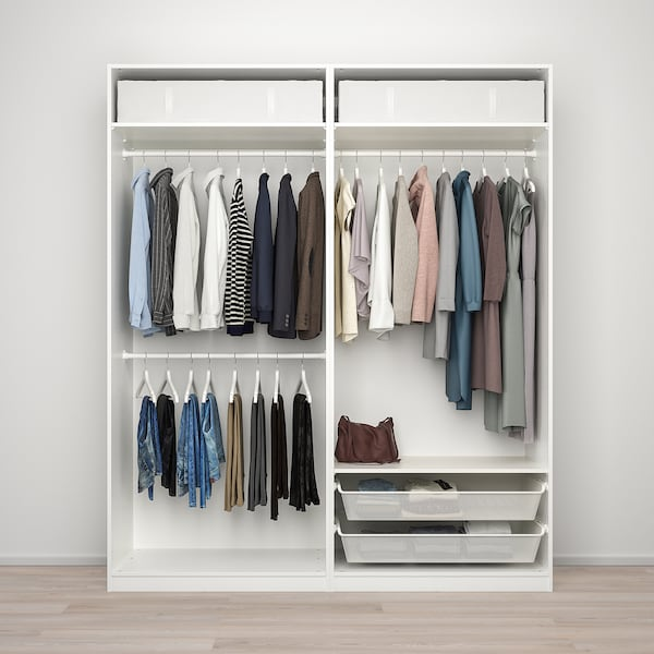 PAX / MEHAMN/AULI Wardrobe combination, white/mirror glass, 200x66x236 cm