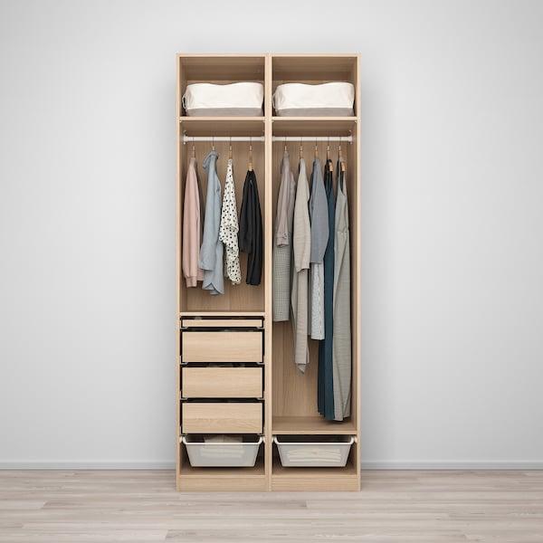 PAX / REINSVOLL Wardrobe combination, white stained oak effect/grey-green, 100x60x236 cm