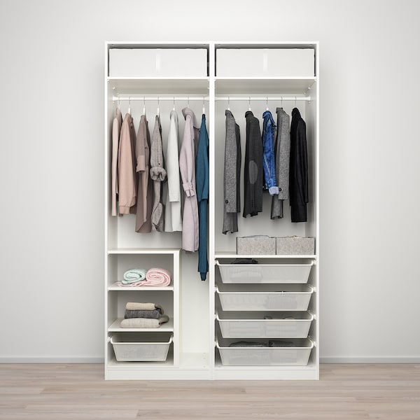 PAX / SEKKEN wardrobe combination white/frosted glass 150.0 cm 66.0 cm 236.4 cm