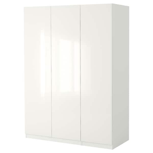 PAX Wardrobe, white/Fardal high-gloss/white, 150x60x236 cm