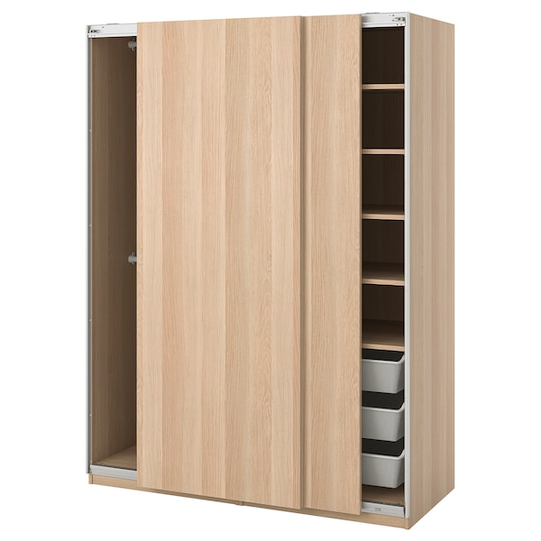 PAX wardrobe Hasvik/white stained oak effect 150.0 cm 66.0 cm 201.2 cm