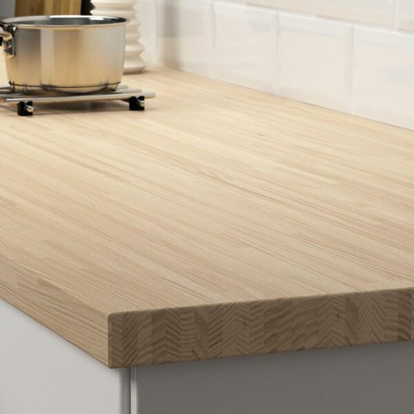 PINNARP Custom made worktop, ash/veneer, 63.6-125x3.8 cm