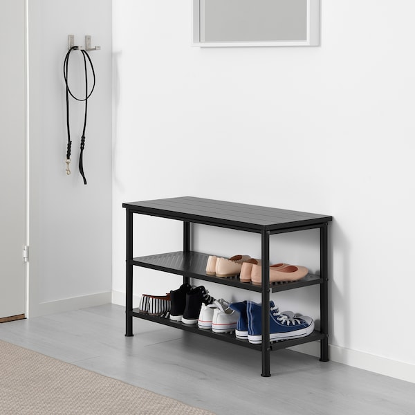PINNIG Bench with shoe storage, black, 79x35x52 cm