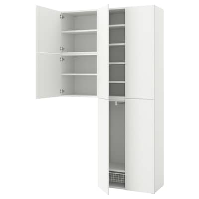 PLATSA Wardrobe w 6 doors, Fonnes white, 140x42x241 cm