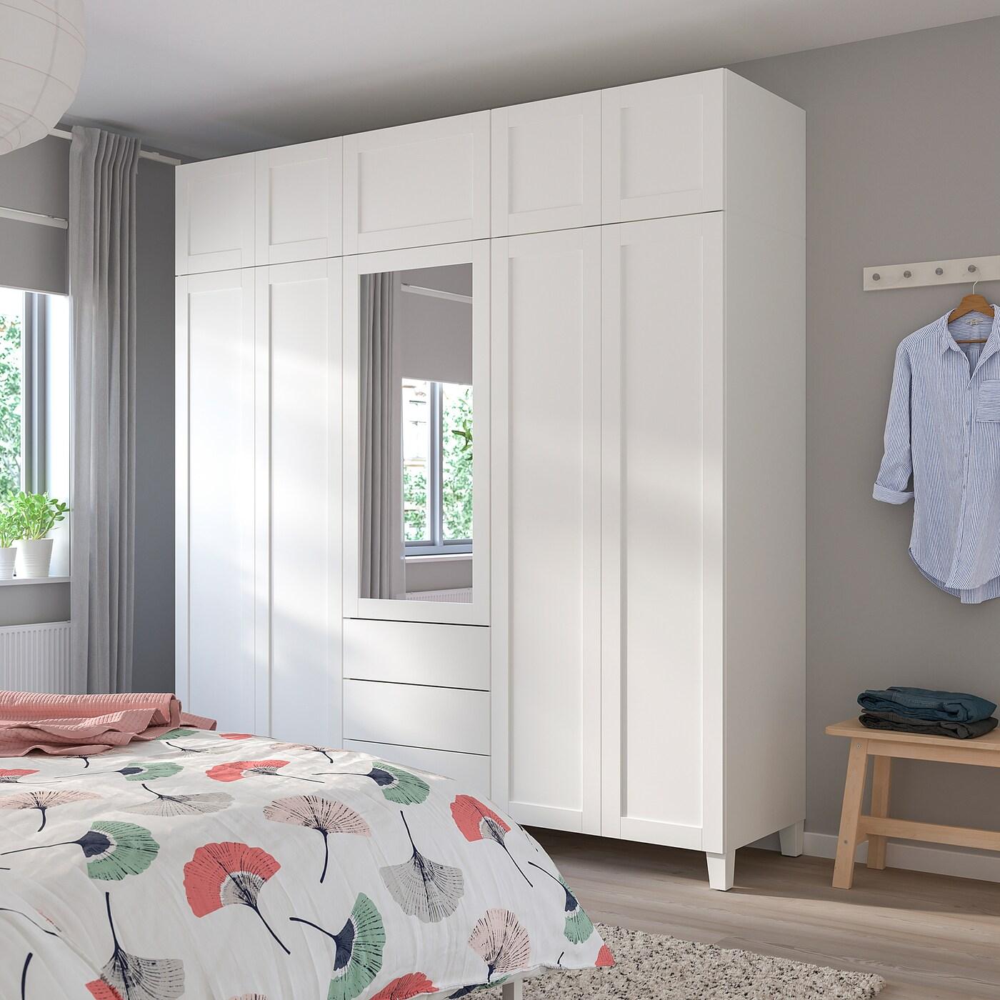 PLATSA Wardrobe, white/Sannidal Ridabu, 220x57x231 cm