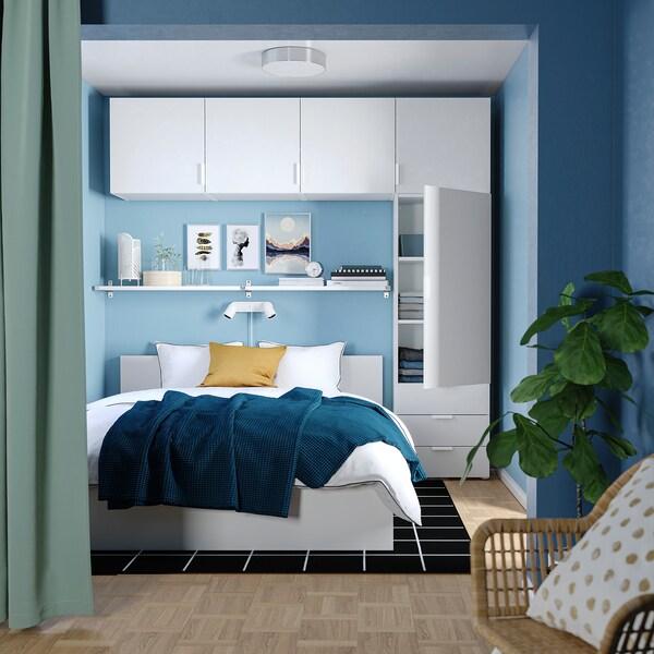 PLATSA Wardrobe with 5 doors+3 drawers, white/Fonnes white, 240x42x241 cm