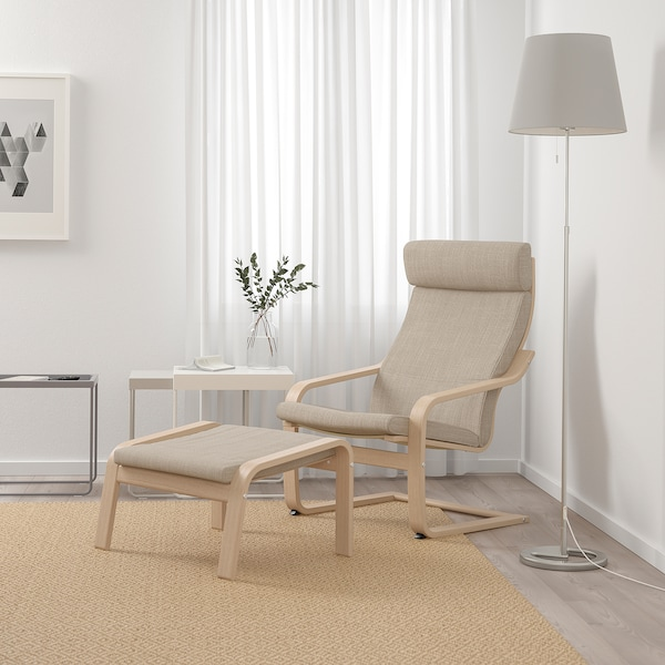 POÄNG armchair white stained oak veneer/Hillared beige 68 cm 82 cm 100 cm 56 cm 50 cm 42 cm