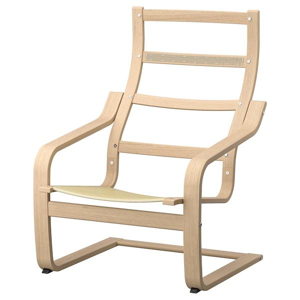POÄNG Armchair frame, white stained oak veneer
