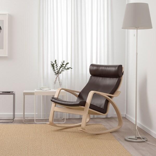 POÄNG Rocking-chair, white stained oak veneer/Glose dark brown
