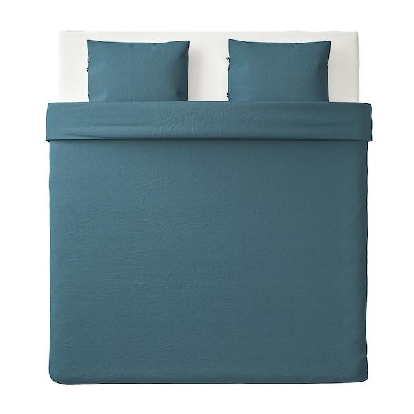 PUDERVIVA Duvet cover and 2 pillowcases, dark blue, 240x220/50x60 cm