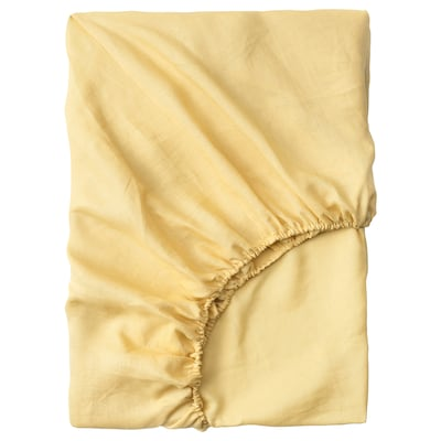 PUDERVIVA Fitted sheet, light yellow, 90x200 cm