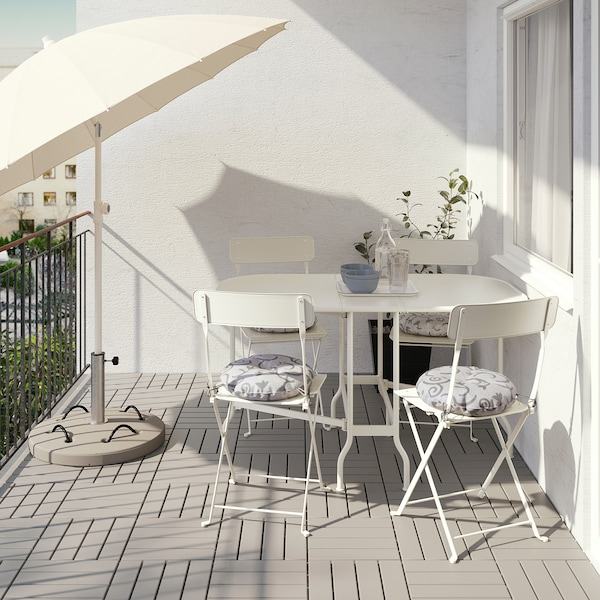 SALTHOLMEN table+4 folding chairs, outdoor beige