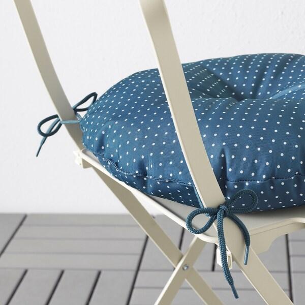 SALTHOLMEN table+4 folding chairs, outdoor beige/Ytterön blue