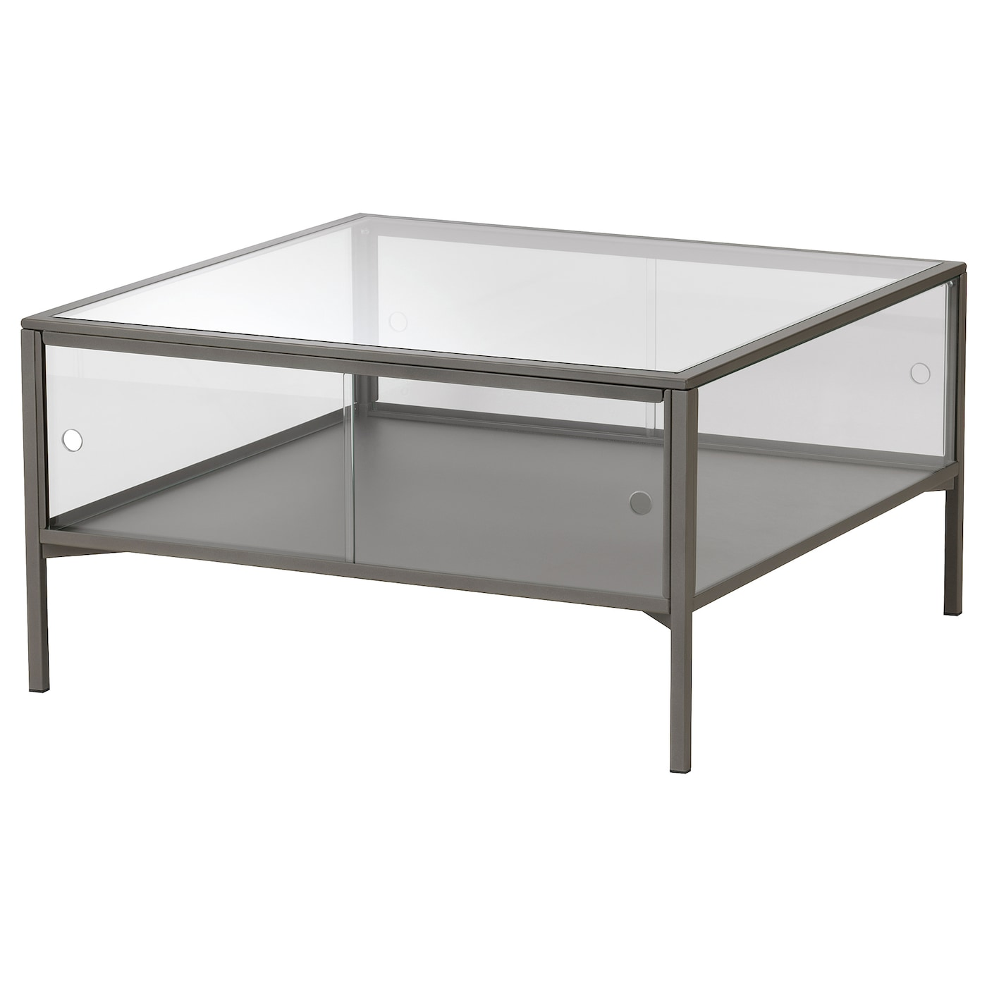 IKEA SAMMANHANG coffee table The table top in tempered glass is stain resistant and easy to clean.