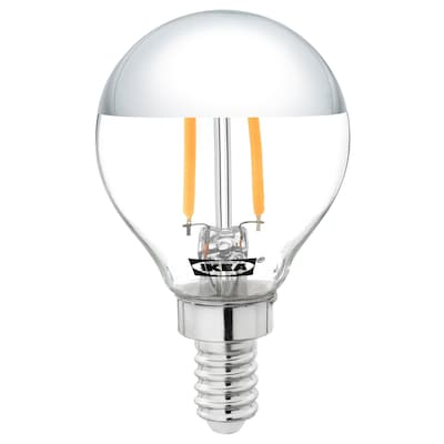 SILLBO LED bulb E14 140 lumen, globe/mirrored top silver coloured, 45 mm