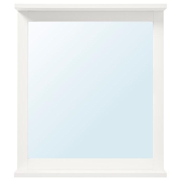 SILVERÅN Mirror with shelf, white, 56x64 cm