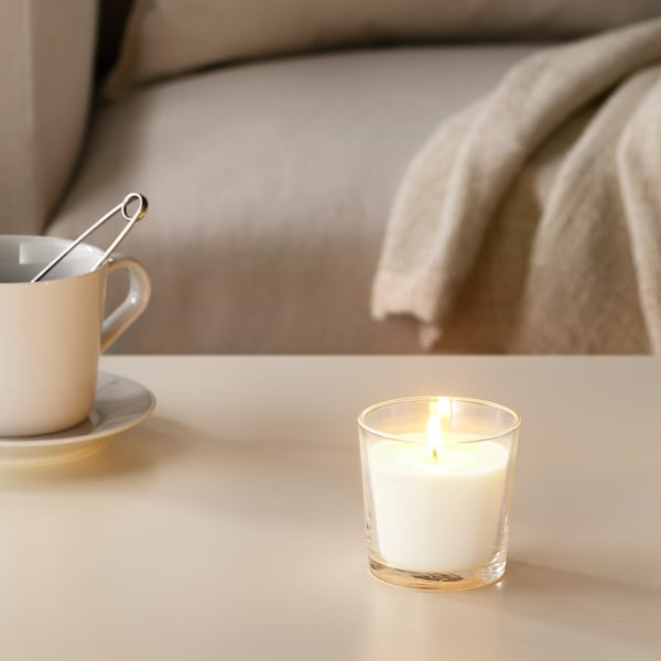 SINNLIG Scented candle in glass, Sweet vanilla/natural, 7.5 cm