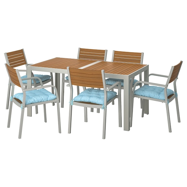 SJÄLLAND table+6 chairs w armrests, outdoor light brown/Kuddarna light blue 156 cm 90 cm 73 cm