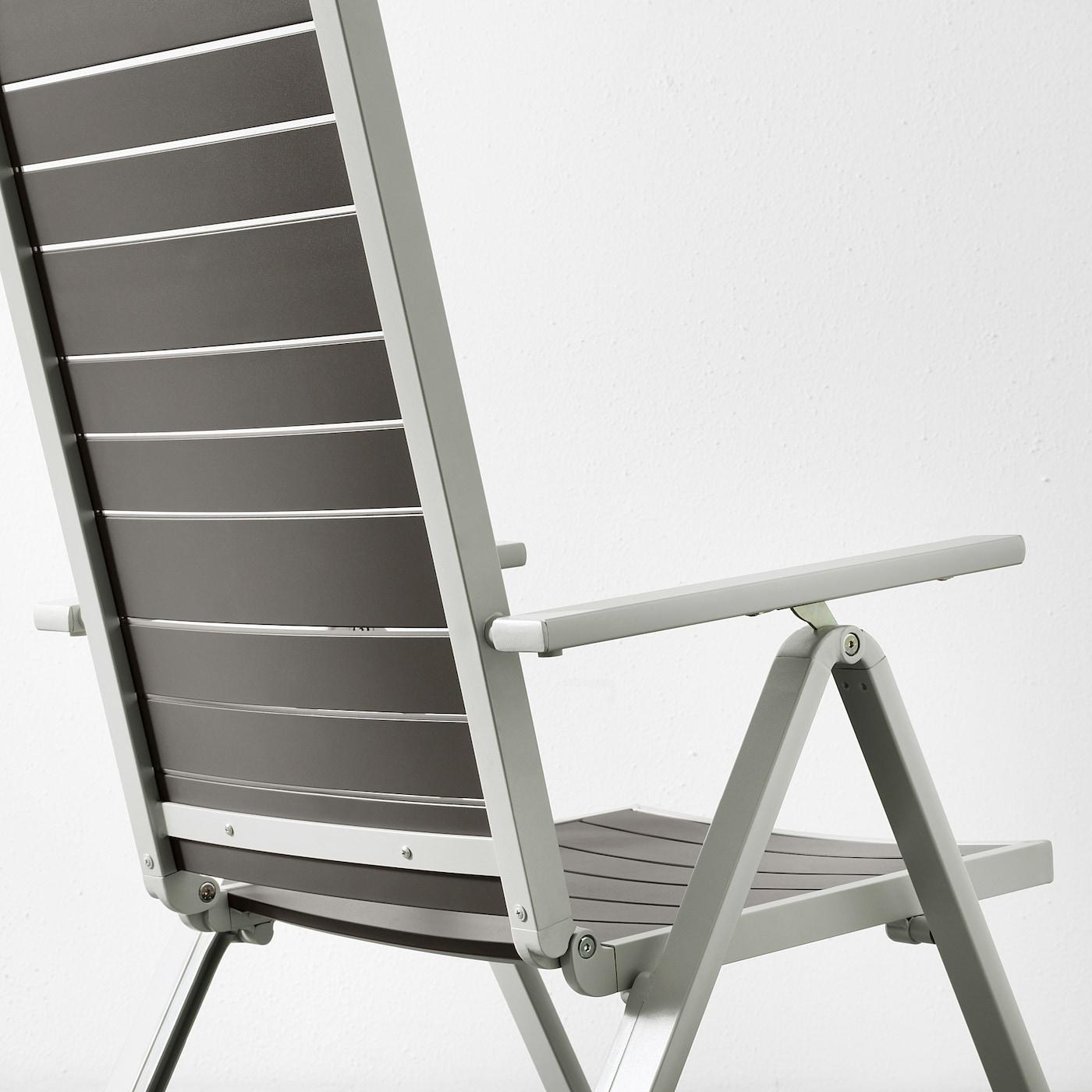 SJÄLLAND Table+6 reclining chairs, outdoor, dark grey/light grey, 156x90 cm
