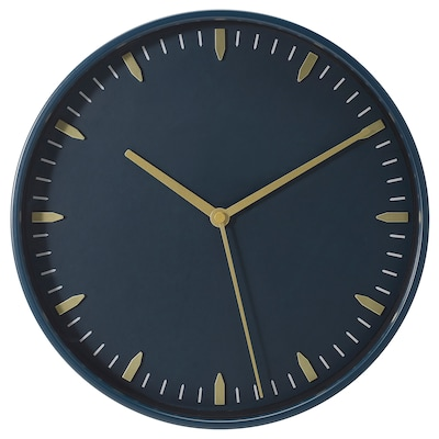 SKÄRIG Wall clock, blue, 26 cm