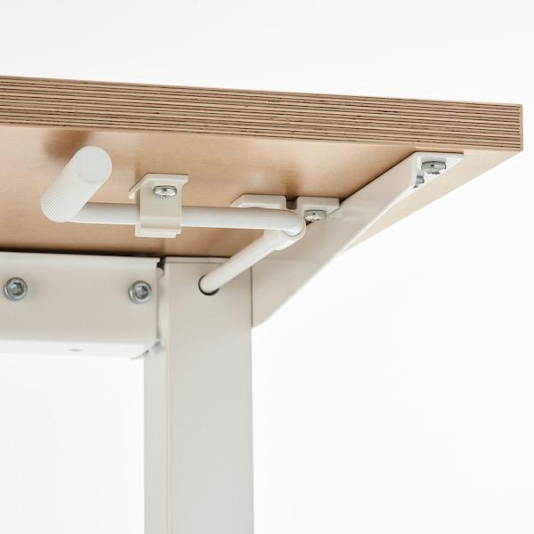 SKARSTA Desk sit/stand, beige/white, 160x80 cm