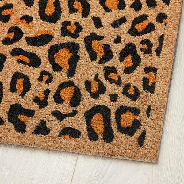 SKIBET Door mat, leopard black/orange, 40x60 cm