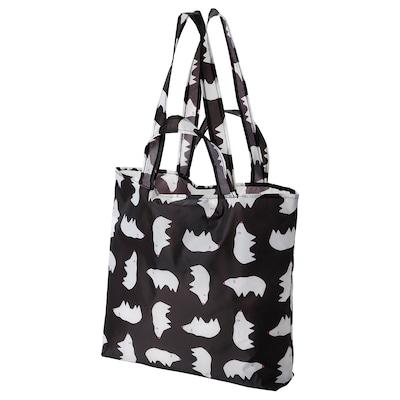 SKYNKE Carrier bag, black white/patterned polar bear, 45x36 cm