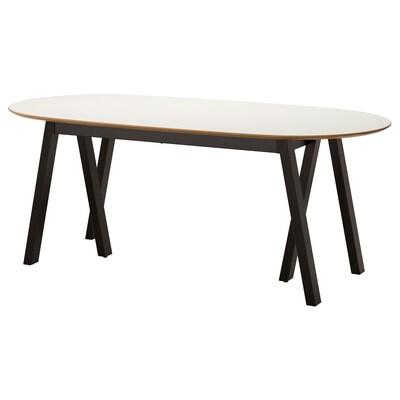 SLÄHULT Table, white/Grebbestad black, 185x90 cm