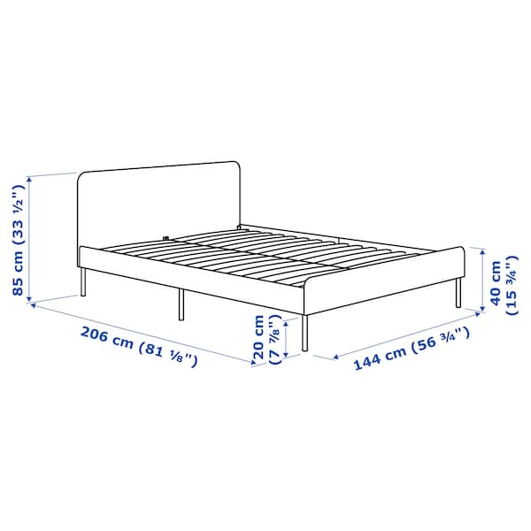 SLATTUM Upholstered bed frame, Knisa light grey, 140x200 cm